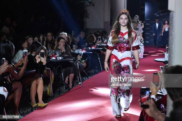 Thylane Blondeau walks the runway at the Dolce Gabbana secret show during Milan Fashion Week Spring/Summer 2018 at Bar Martini on September 23 2017...