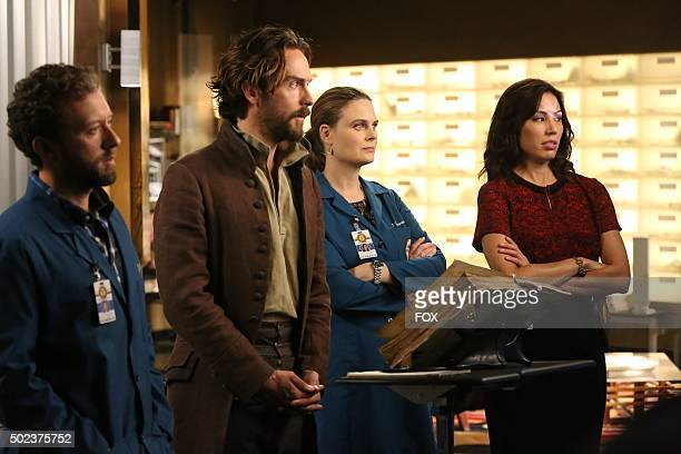Thyne guest star Tom Mison Emily Deschanel and Michaela Conlin in the special 'The Resurrection in the Remains' BONES/SLEEPY HOLLOW crossover episode...