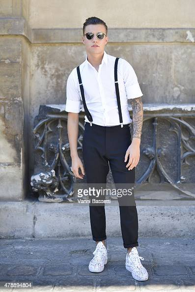 Thys Klasse poses wearing Dolce and Gabbana shirt Givenchy pants and Filling Pieces shoes before Lanvin show at the Ecole des Beaux Arts de Paris on...