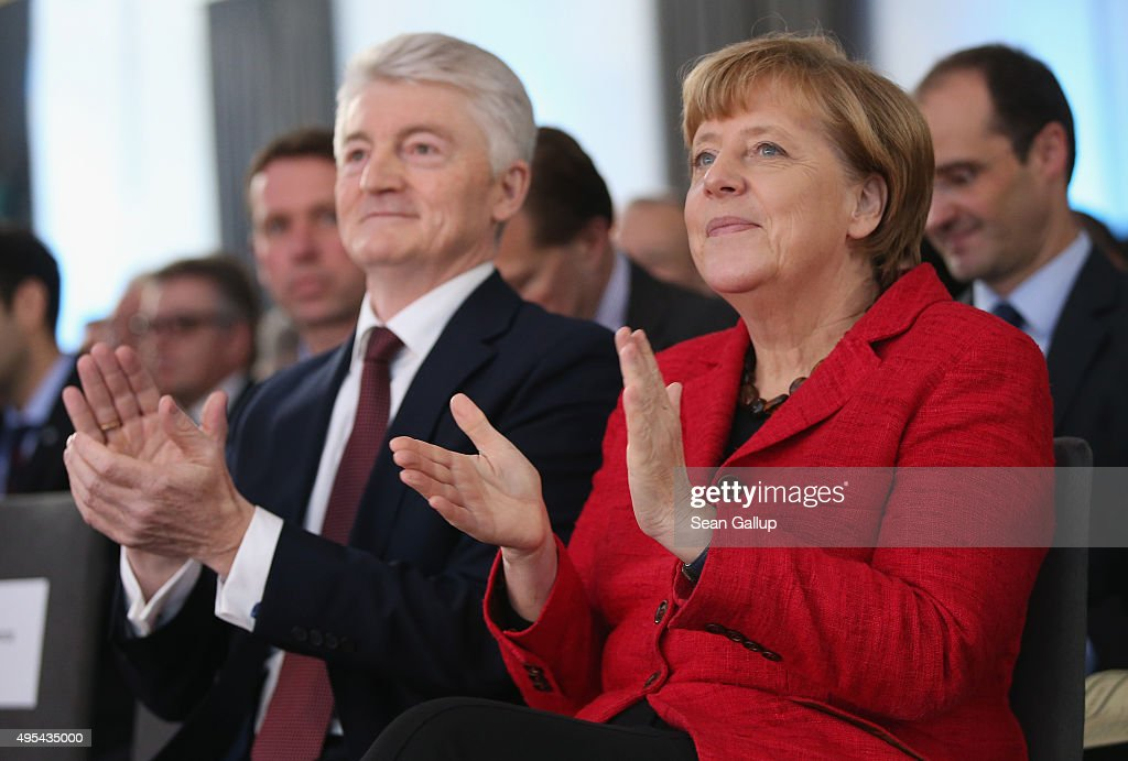 ThyssenKrupp AG Chairman Heinrich Hiesinger and German Chancellor Angela Merkel attend the 'Day of German Industry' annual gathering on November 3, 2015 in Berlin, Germany. Hosted by the German Federation of Industry (BDI), the annual gathering brings together industrial leaders from across Germany as well as political leaders.