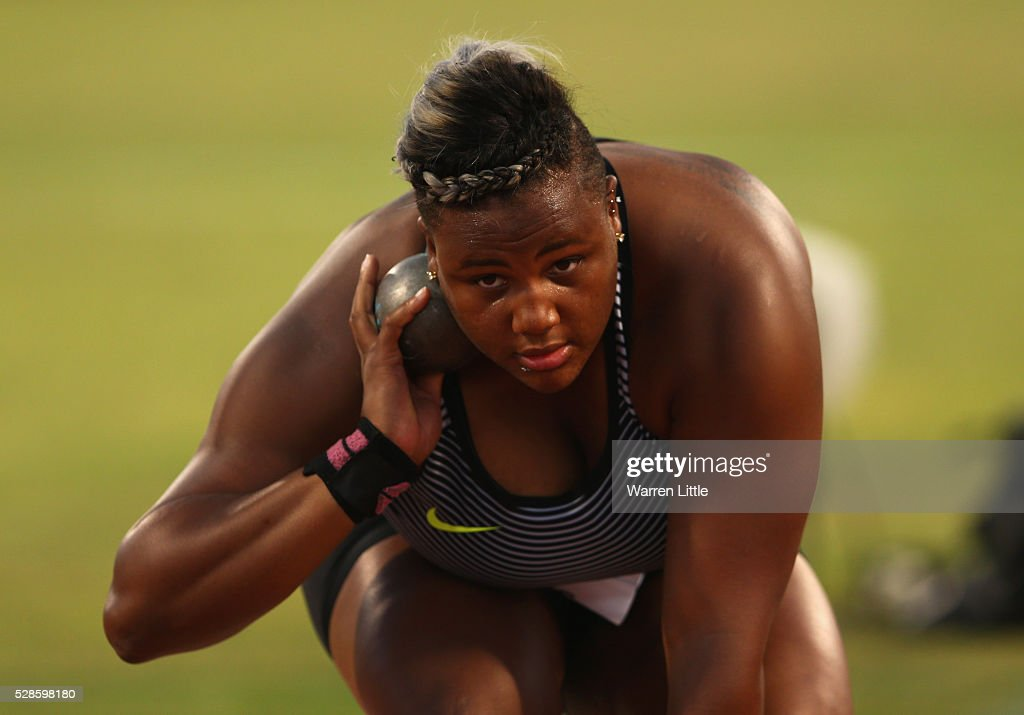 Tia Brooks of the United States competes in the Women's Shot Put final during the Doha IAAF Diamond League 2016 meeting at Qatar Sports Club on May 6, 2016 in Doha, Qatar.