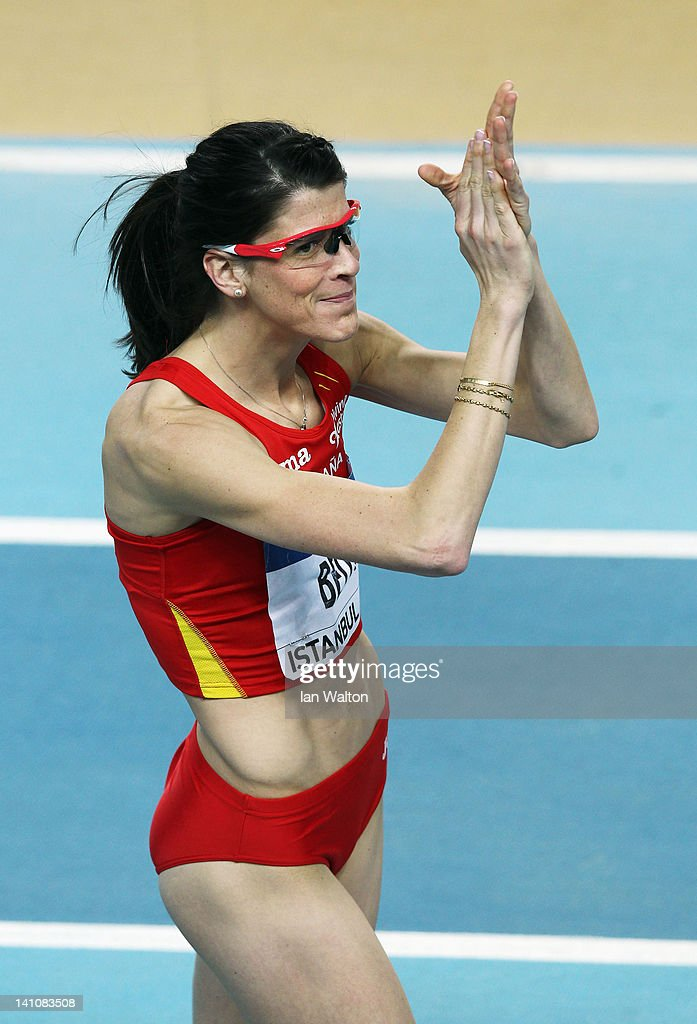 <a gi-track='captionPersonalityLinkClicked' href=/galleries/search?phrase=Tia+Hellebaut&family=editorial&specificpeople=597909 ng-click='$event.stopPropagation()'>Tia Hellebaut</a> of Belgium applauds the crowd during the Women's High Jump Final during day two of the 14th IAAF World Indoor Championships at the Atakoy Athletics Arena on March 10, 2012 in Istanbul, Turkey.