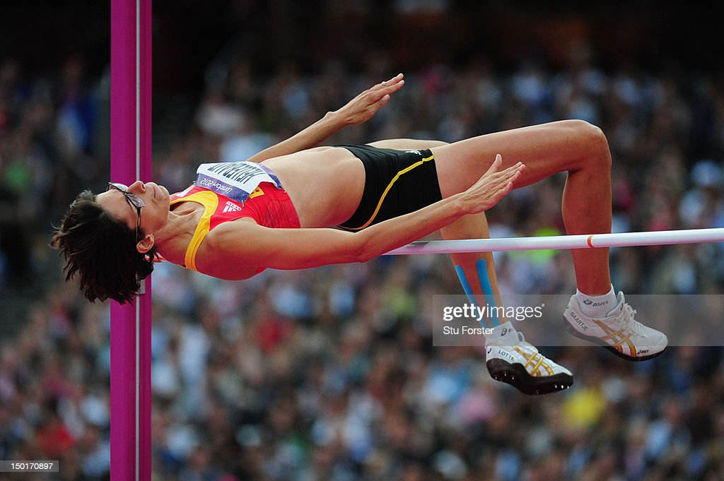 <a gi-track='captionPersonalityLinkClicked' href=/galleries/search?phrase=Tia+Hellebaut&family=editorial&specificpeople=597909 ng-click='$event.stopPropagation()'>Tia Hellebaut</a> of Belgium competes during the Women's High Jump Final on Day 15 of the London 2012 Olympic Games at Olympic Stadium on August 11, 2012 in London, England.