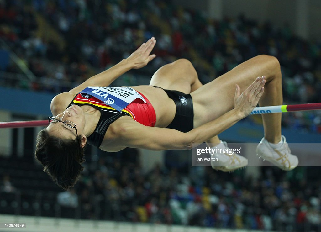 <a gi-track='captionPersonalityLinkClicked' href=/galleries/search?phrase=Tia+Hellebaut&family=editorial&specificpeople=597909 ng-click='$event.stopPropagation()'>Tia Hellebaut</a> of Belgium competes in the Women's High Jump qualification during day one of the 14th IAAF World Indoor Championships at the Atakoy Athletics Arena on March 9, 2012 in Istanbul, Turkey.