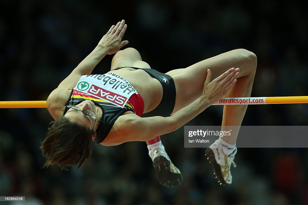 <a gi-track='captionPersonalityLinkClicked' href=/galleries/search?phrase=Tia+Hellebaut&family=editorial&specificpeople=597909 ng-click='$event.stopPropagation()'>Tia Hellebaut</a> of Belgium competes in the Women's High Jump qualification during day two of the European Athletics Indoor Championships at Scandinavium on March 2, 2013 in Gothenburg, Sweden.