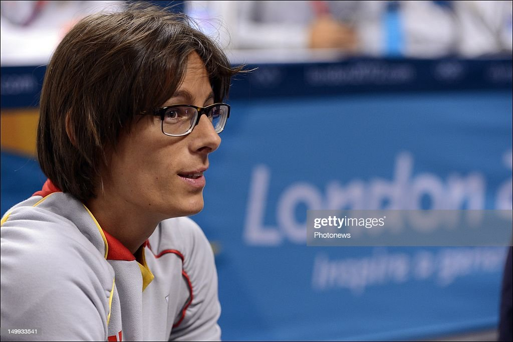 <a gi-track='captionPersonalityLinkClicked' href=/galleries/search?phrase=Tia+Hellebaut&family=editorial&specificpeople=597909 ng-click='$event.stopPropagation()'>Tia Hellebaut</a> of Belgium pictured during a press conference on Day 11 of the London 2012 Olympic Games at the Olympic Village on August 07, 2012 in London, England.
