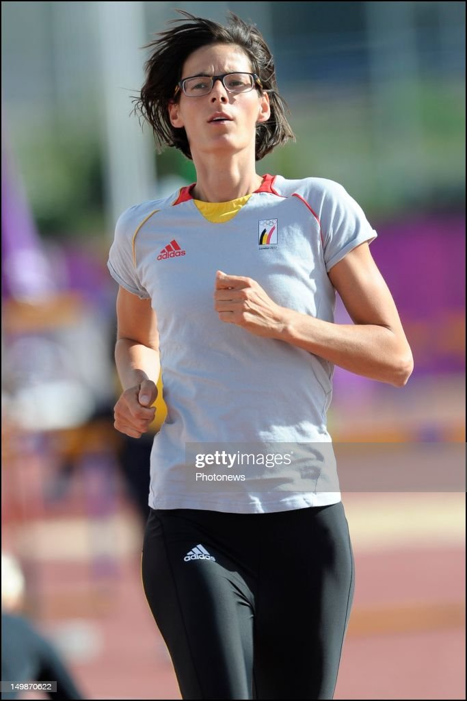 <a gi-track='captionPersonalityLinkClicked' href=/galleries/search?phrase=Tia+Hellebaut&family=editorial&specificpeople=597909 ng-click='$event.stopPropagation()'>Tia Hellebaut</a> of Belgium pictured during a training session on day 09 of the London 2012 Olympic Games at the athletics training center on August 05, 2012 in London, England.