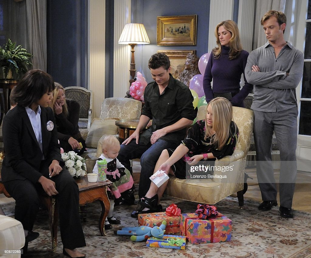 LIVE - Tia Hodge (Amelia), Susan Haskell (Marty), Tess/Molly/Madeline Sullivan (Hope), Brandon Buddy (Cole), Kristen Alderson (Starr), Kassie DePaiva (Blair) and Trevor St. John (Todd) in a scene that airs the week of November 2, 2009 on ABC Daytime's 'One Life to Live.' 'One Life to Live' airs Monday-Friday (2:00 p.m. - 3:00 p.m., ET) on the ABC Television Network. OLTL09 (Photo by Lorenzo Bevilaqua/ABC via Getty Images) TIA