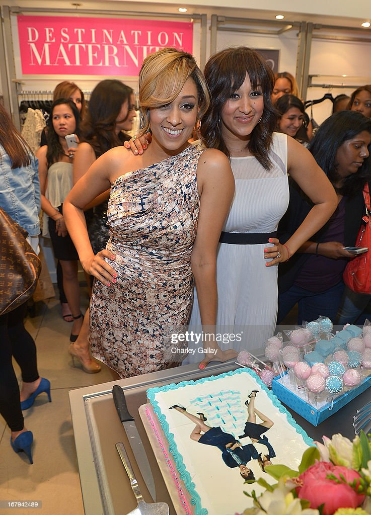 Tia Mowry (L) and Tamera Mowry host the Milky! launch event at A Pea In The Pod on May 2, 2013 in Beverly Hills, California.