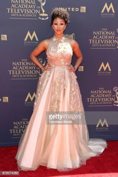 Tia Mowry attends the 44th Annual Daytime Emmy Awards at Pasadena Civic Auditorium on April 30 2017 in Pasadena California