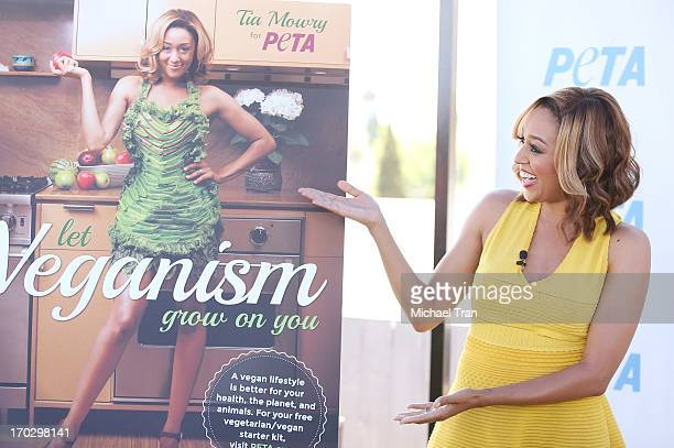 Tia Mowry unveils sexy new PETA campaign held at The Bob Barker Building on June 10 2013 in Los Angeles California