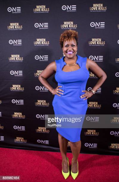 Tia Smith TV One Senior Director of Original Programming/Production poses for a photo on the red carpet at TV One's DC Premiere of When Love Kills...