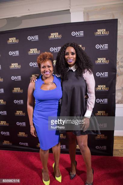 Tia Smith TV One Senior Director of Original Programming/Production and Director Tasha Smith pose for a photo on the red carpet at TV One's DC...