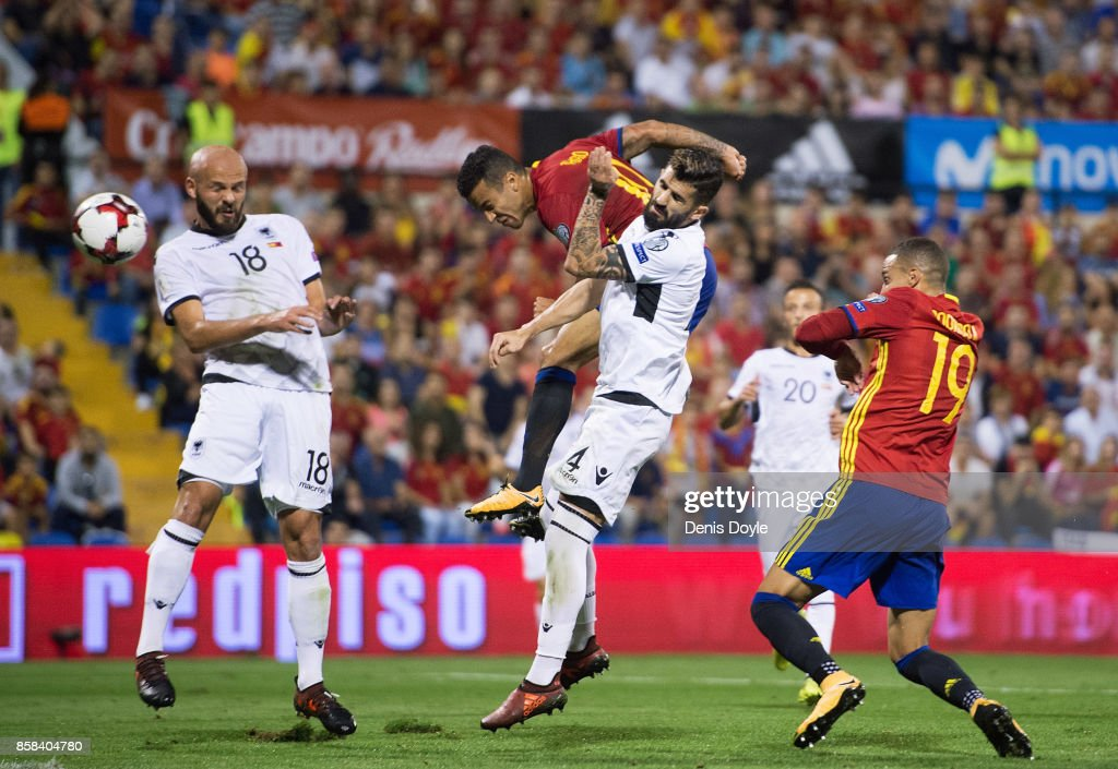 Tiago Alcantara of Spain scores Spain's second goal during the FIFA 2018 World Cup Qualifier between Spain and Albania at Estadio Jose Rico Perez on October 6, 2017 in Alicante, Spain.