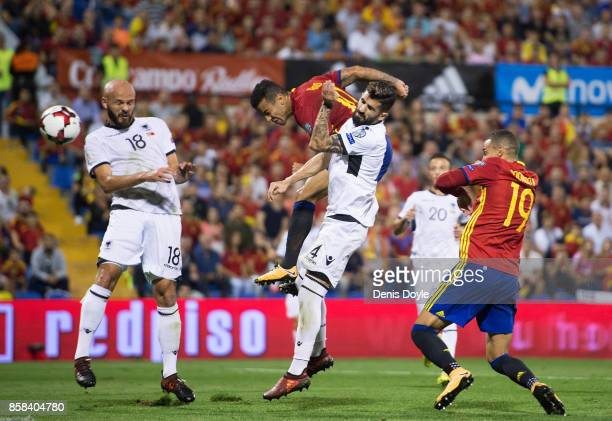 Tiago Alcantara of Spain scores Spain's second goal during the FIFA 2018 World Cup Qualifier between Spain and Albania at Estadio Jose Rico Perez on...
