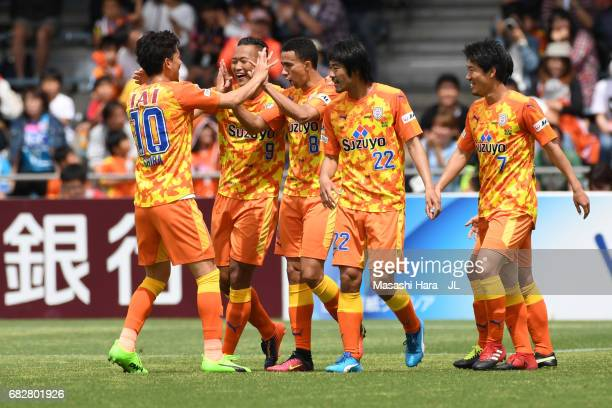 Tiago Alves of Shimizu SPulse celebrates the first goal during the JLeague J1 match between Shimizu SPulse and Sagan Tosu at IAI Stadium Nihondaira...