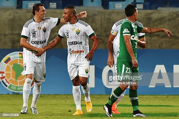 Tiago Amaral of Brazil's Cuiaba celebrates after scoring against Brazil's Chapecoense during their Sudamericana Cup football match held at the Arena...