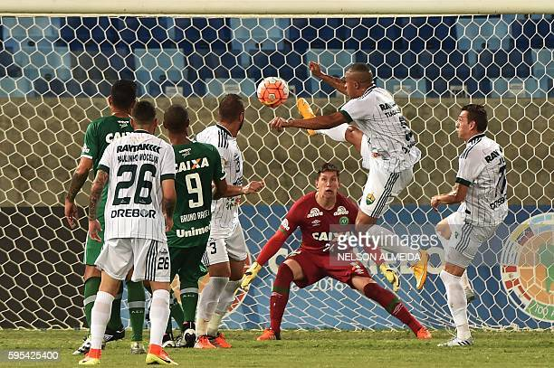 Tiago Amaral of Brazil's Cuiaba kicks the ball to score against of Brazil's Chapecoense during their Sudamericana Cup football match held at the...
