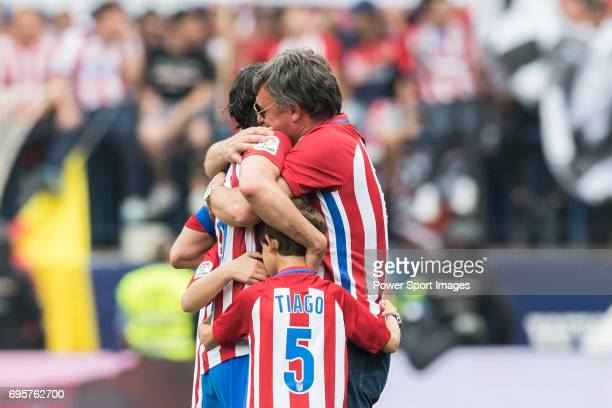Tiago Cardoso Mendes of Atletico de Madrid celebrates with his family at the end of the La Liga match between Atletico de Madrid and Athletic de...