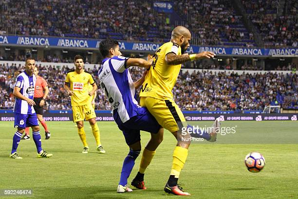 Tiago Correia quotBebequot and Juanfran Moreno in action during the Spanish league football match Real Club Deportivo de La Coruña vs SD Eibar at...