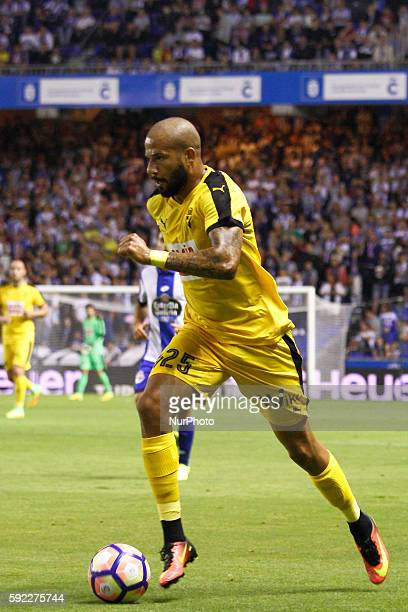Tiago Correia quotBebequot in action during the Spanish league football match Real Club Deportivo de La Coruña vs SD Eibar at estadio Municipal de...