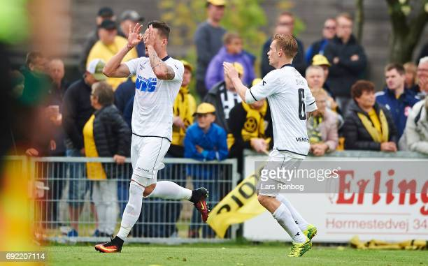 Tiago de Leonco of Vendsyssel FF celebrates after scoring their first goal during the Danish Alka Superliga Playoff match between Vendsyssel FF and...