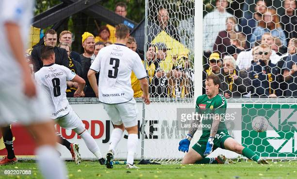 Tiago de Leonco of Vendsyssel FF scores the 10 goal against Goalkeeper Steve Clark of AC Horsens during the Danish Alka Superliga Playoff match...