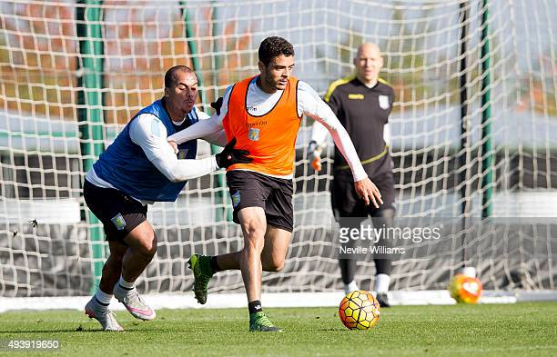 Tiago Ilori of Aston Villa in action with Gabriel Agbonlahor during a Aston Villa training session at the club's training ground at Bodymoor Heath on...