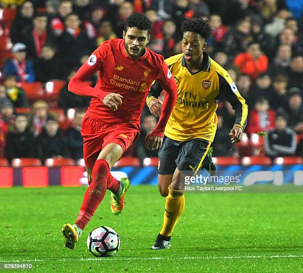 Tiago Ilori of Liverpool and Chris Willock of Arsenal in action during the Premier League 2 match between Liverpool and Arsenal at Anfield on...