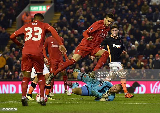 Tiago Ilori of Liverpool competes during The Emirates FA Cup Third Round Replay between Liverpool and Exeter City at Anfield on January 20 2016 in...