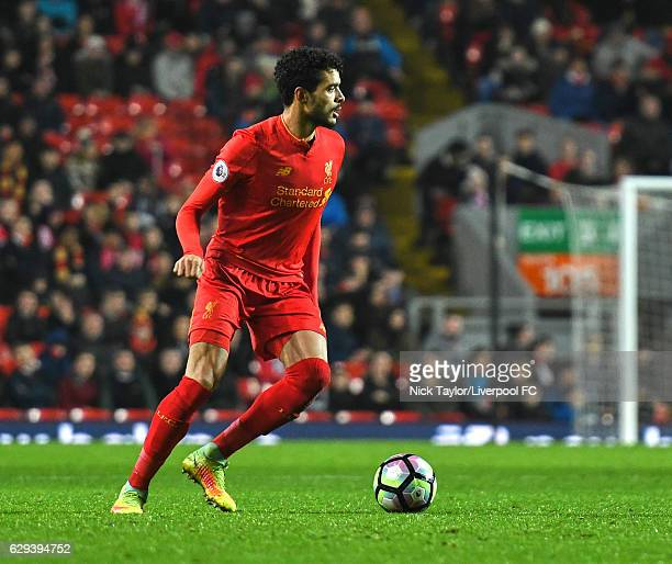 Tiago Ilori of Liverpool in action during the Premier League 2 match between Liverpool and Arsenal at Anfield on December 12 2016 in Liverpool England