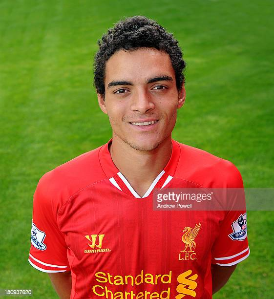 Tiago Ilori of Liverpool poses during a portrait session at Melwood Training Ground on September 18 2013 in Liverpool United Kingdom