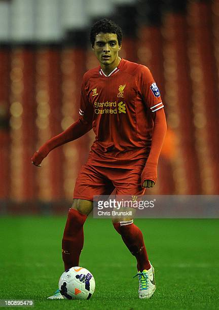 Tiago Ilori of Liverpool U21 in action during the Barclays U21s Premier League match between Liverpool U21 and Sunderland U21 at Anfield on September...