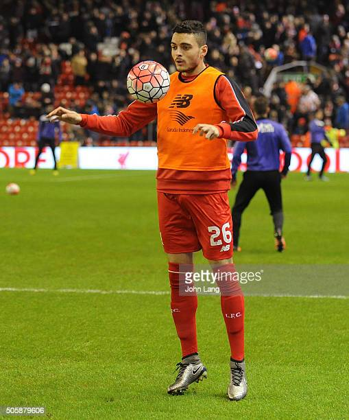 Tiago Ilori of Liverpool warms up before The Emirates FA Cup Third Round Replay between Liverpool and Exeter City at Anfield on January 20 2016 in...
