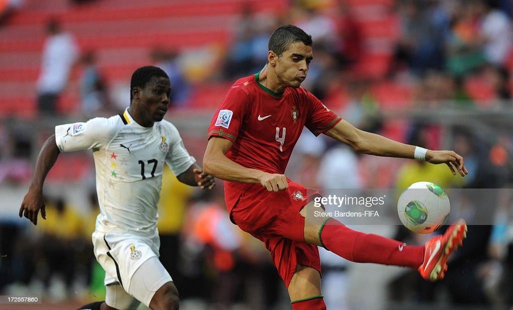 Tiago Ilori of Portugal clears the ball away fromEbenezer Assifuah of Ghana during the FIFA U20 World Cup Round of 16 match between Portugal and Ghana at Kadir Has Stadium on July 3, 2013 in Kayseri, Turkey.