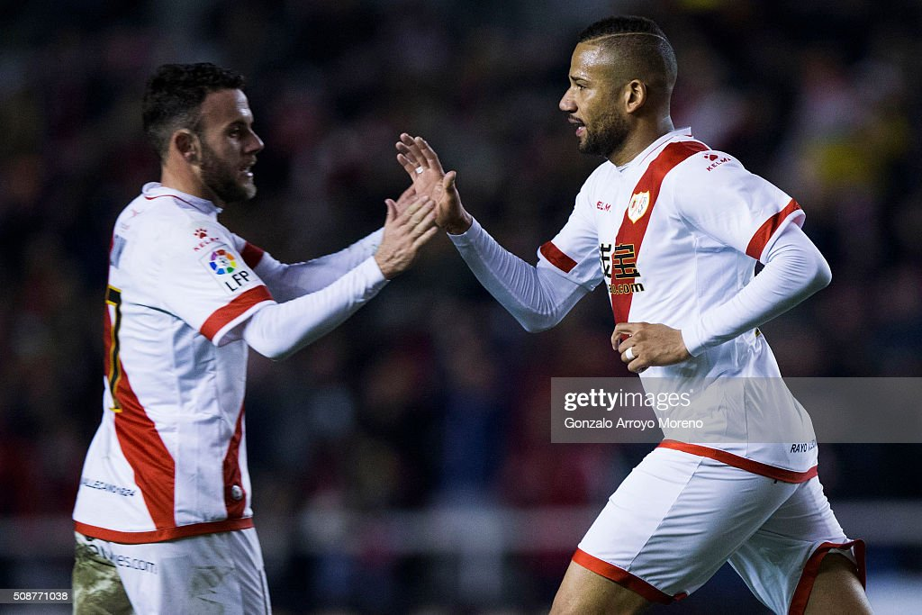 Tiago Manuel Dias Correia alias Bebe (R) of Rayo Vallecano de Madrid celebrates scoring their second goal with teammate Joaquin Jose Marin alias Quini (L) during the La Liga match between Rayo Vallecano de Madrid and UD Las Palmas at Estadio de Vallecas on February 6, 2016 in Madrid, Spain.