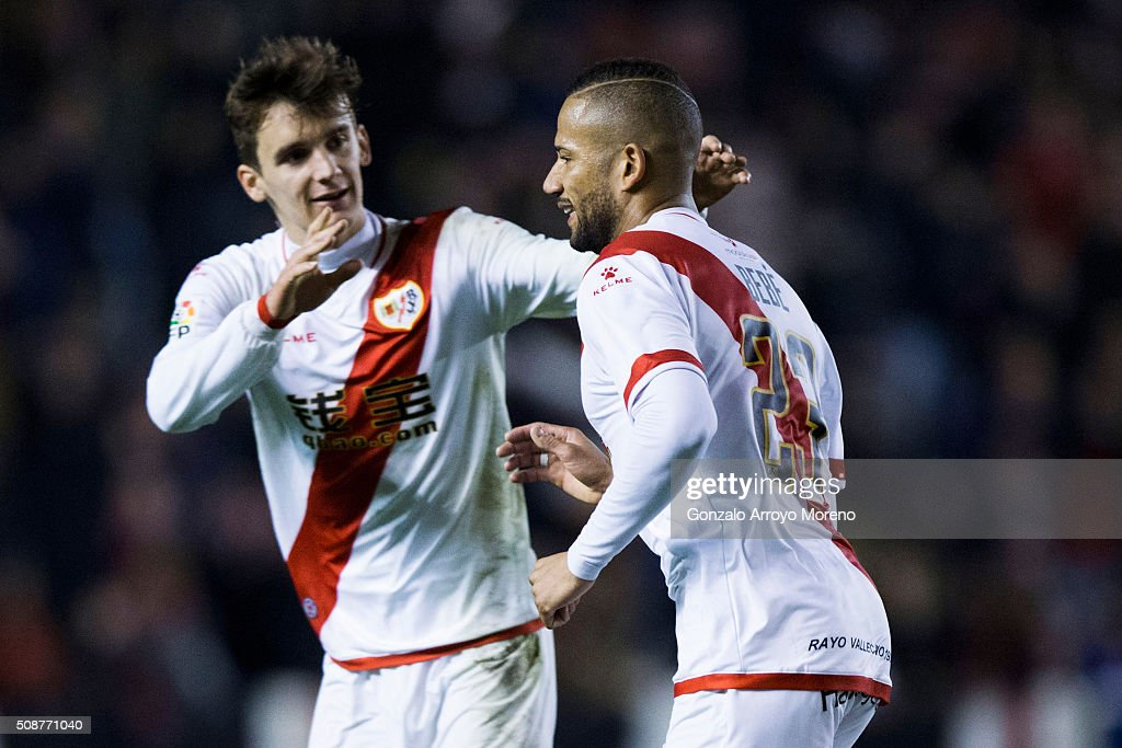 Tiago Manuel Dias Correia alias Bebe (R) of Rayo Vallecano de Madrid celebrates scoring their second goal with teammate Diego Llorente (L) during the La Liga match between Rayo Vallecano de Madrid and UD Las Palmas at Estadio de Vallecas on February 6, 2016 in Madrid, Spain.