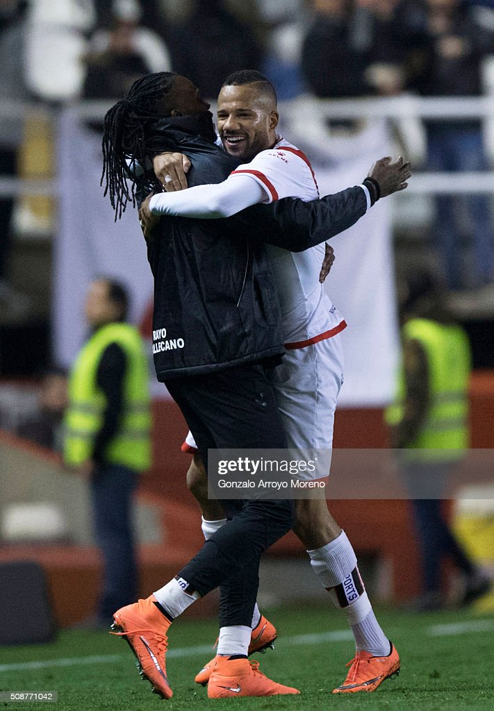 Tiago Manuel Dias Correia alias Bebe (R) of Rayo Vallecano de Madrid celebrates scoring their second goal with teammate Mateus Alberto Contreiras alias Manucho (L) during the La Liga match between Rayo Vallecano de Madrid and UD Las Palmas at Estadio de Vallecas on February 6, 2016 in Madrid, Spain.