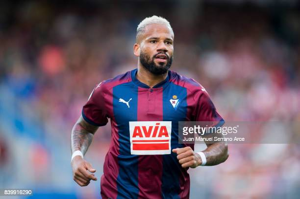 Tiago Manuel Dias Correia 'Bebe' of Eibar reacts during the La Liga match between Eibar and Athletic Club at Estadio Municipal de Ipurua on August 27...