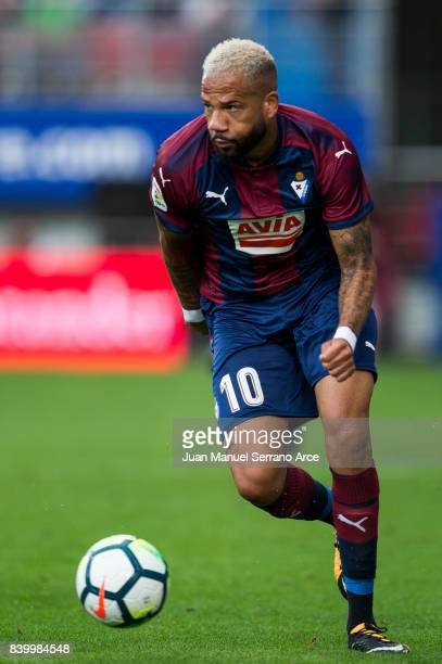 Tiago Manuel Dias Correia 'Bebe' of SD Eibar controls the ball during the La Liga match between SD Eibar and Athletic Club Bilbao at Estadio...