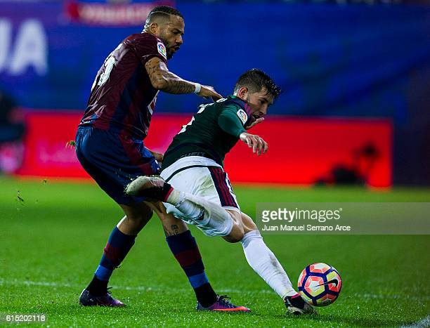 Tiago Manuel Dias Correia '' Bebe '' of SD Eibar duels for the ball with David Garcia of CA Osasuna during the La Liga match between SD Eibar and CA...