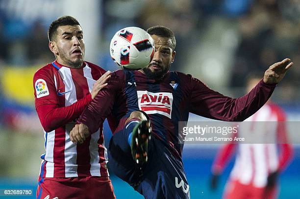 Tiago Manuel Dias Correia 'Bebe' of SD Eibar duels for the ball with Angel Correa of Atletico Madrid during the Copa del Rey Quarter Final 2nd Leg...