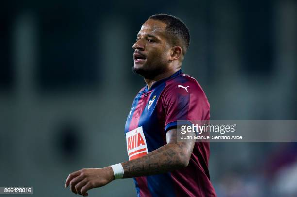 Tiago Manuel Dias Correia 'Bebe' of SD Eibar reacts during the Copa Del Rey match between SD Eibar and RC Celta de Vigo at Estadio Municipal de...