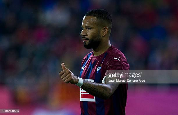 Tiago Manuel Dias Correia '' Bebe ''of SD Eibar reacts during the La Liga match between SD Eibar and CA Osasuna at Ipurua Municipal Stadium on...