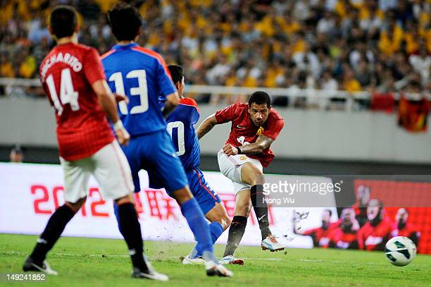 Tiago Manuel Dias Correia of Manchester United plays a shoot during the Friendly Match between Shanghai Shenhua and Manchester United at Shanghai...