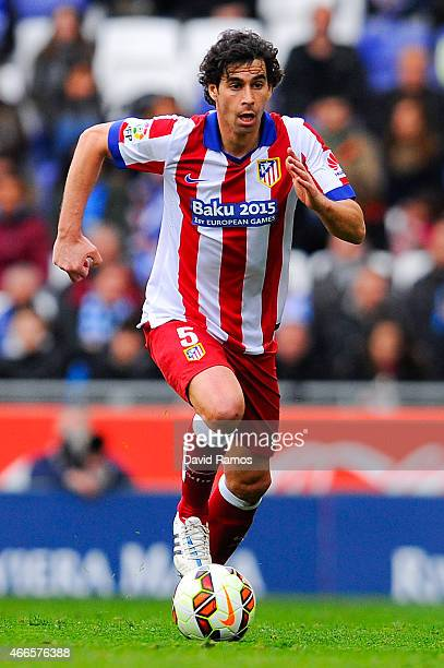 Tiago Mendes of Atletico de Madrid runs with the ball during the La Liga match between RCD Espanyol and Club Atletico de Madrid at Power 8 Stadium on...