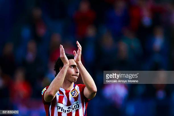 Tiago Mendes of Atletico de Madrid waves the audience after the La Liga match between Club Atletico de Madrid and Real Club Celta de Vigo at Vicente...