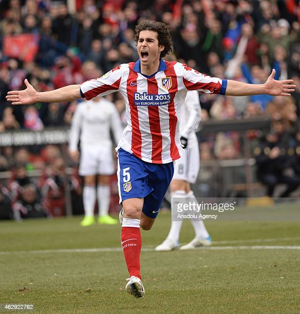 Tiago Mendes of Atletico Madrid celebrates after scoring during the La Liga match between Atletico Madrid and Real Madrid at Vicente Calderon Stadium...