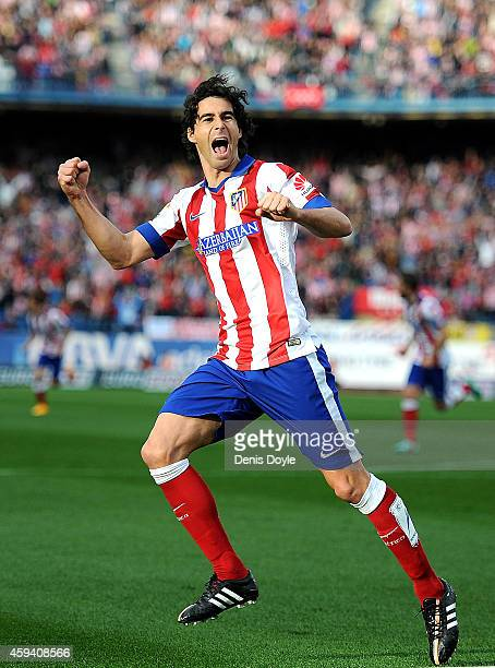 Tiago Mendes of Club Atletico de Madrid celebrates after scoring his team's opening goal during the La Liga match between Club Atletico de Madrid and...