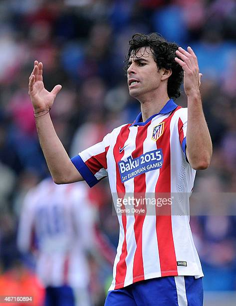 Tiago Mendes of Club Atletico de Madrid reacts during the La Liga match between Club Atletico de Madrid and Getafe CF at Vicente Calderon Stadium on...